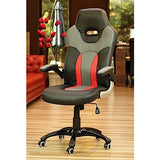 Office Computer Desk Chair Swivel PC Office Chair Tilt Function Padded Adjustable Height Pu Leather Fine Fabric (Black Red Grey A+ Quality) eMarkooz (TM)