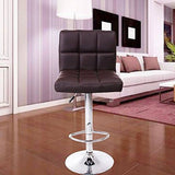 Swivel Home Office Chair Kitchen Chrome Dining Bar Stool PU Leather Chair Brown eMarkooz(TM)