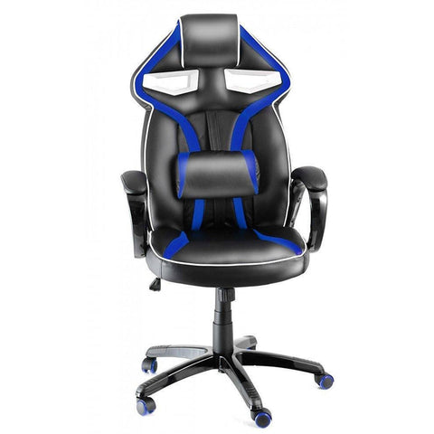 Heavy Duty Sporty Racing Chair for Game Players Sports Chair Swivel Padded Office Chair (Black Blue) eMarkooz