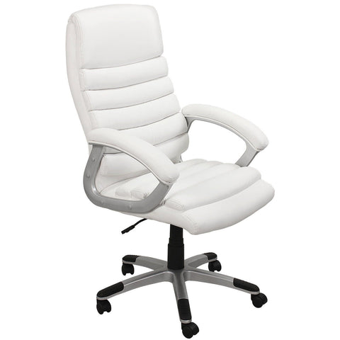 Office Chair, Computer Desk Chair, Swivel Pc Office Chair, Tilt Function, Faux Leather Boss Chair, Adjustable Height Chair in White Colour