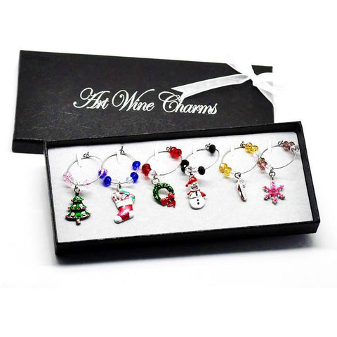 eMarkooz Christmas Xmas Wine Glass Charms Table decorations in Gift Box ,Tree, Holly Wreath, Stocking, Snowman, Candy Cane, Snowflake Tableware Home Accessories Toys Gift