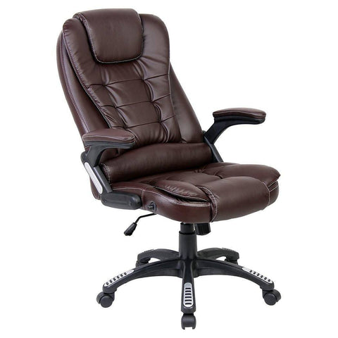 Office Chair, Reclining Executive High Back Office Desk Chair Faux Leather Swivel (Brown)
