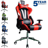 Gaming Computer Chair Heavy Duty Sporty Racing Chair For Game Players Swivel Padded Office Chair (Black and Red)