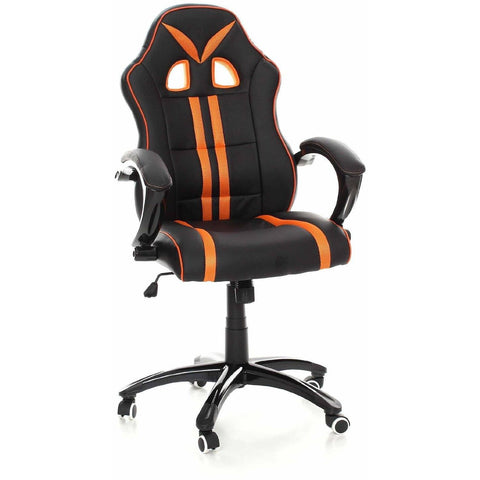 Swivel Desk Chair Executive Office Chair Racing Gaming Chair Padded Computer PC Chairs Adjustable Height Armchair (Black Orange Heavy Padded) eMarkooz (TM)