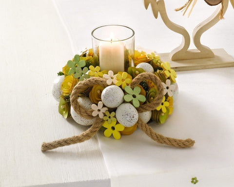 Wreath with Tealight glass, Easter Decoration Amazon