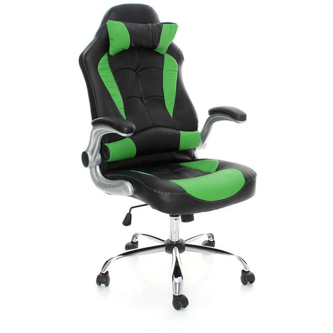 Swivel Desk Chair Executive Office Chair Racing Gaming Chair Padded Computer PC Chairs Adjustable Height Armchair (Green Black Heavy Padded) eMarkooz (TM)