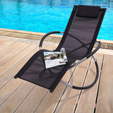 eMarkooz Black Folding Garden Sun Lounger Rocking Chair | Lightweight Moon Rocker Patio Chair | Sunlounger For Indoor or Outdoor Use | Easy Care Textilene