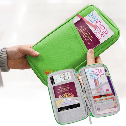 Travel Organizer, Passport Bag, Ticket Document Holder, Wallet Full Closure Zipper