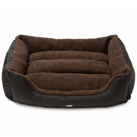 Snugpaws Luxury Easy-Clean Washable Dog Pet Bed - Medium - Brown - Rectangular/Square Bolster/Nest with Removable Covers