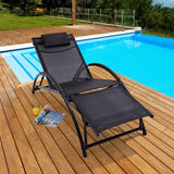 Trueshopping Cayman Adjustable Garden Sun Lounger - Black Reclining Patio Sunlounger Chair with Aluminium Frame and Weatherproof Fabric - Headrest and Footrest - Lightweight & Fully Adjustable