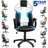 Heavy Duty Sporty Racing Chair for Game Players Sports Chair (Blue White) eMarkooz