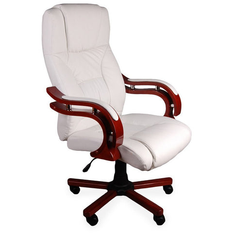 Luxury Office Chair, Padded Computer Pc Desk Chairs Wooden Armchair White Colour