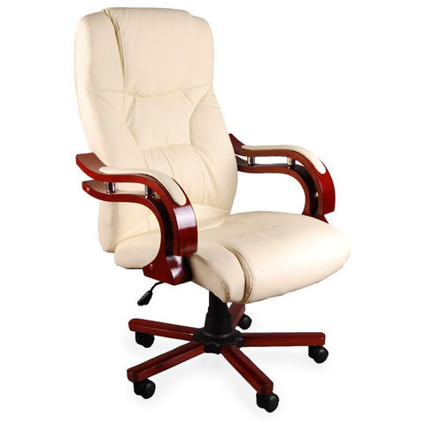 Luxury Office Chair Padded Computer PC Desk Chairs Wooden Armchair (With Massage Function Cream Colour) eMarkooz