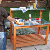 Habau 695 Garden Table with Zinc-Plated Working Surface