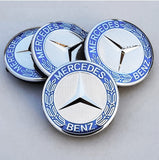 Mercedes Car Alloy Wheel Hub Centre Caps Chrome Silver & Blue set of 4 Car Accessories