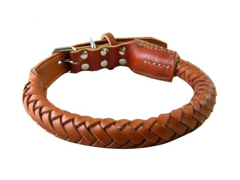 Rolled Leather Dog Collar Rolled Leather Pet's Collar Rolled Leather Collar