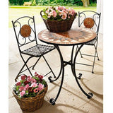 Metal Folding Table and Chairs Outdoor Garden Furniture Set for 2 Chairs and a Table