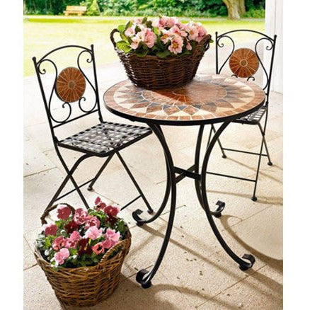 Metal Folding Table and Chairs Outdoor Garden Furniture Set for 2 Chairs and A Table, Marble Mosaic Patio Furniture
