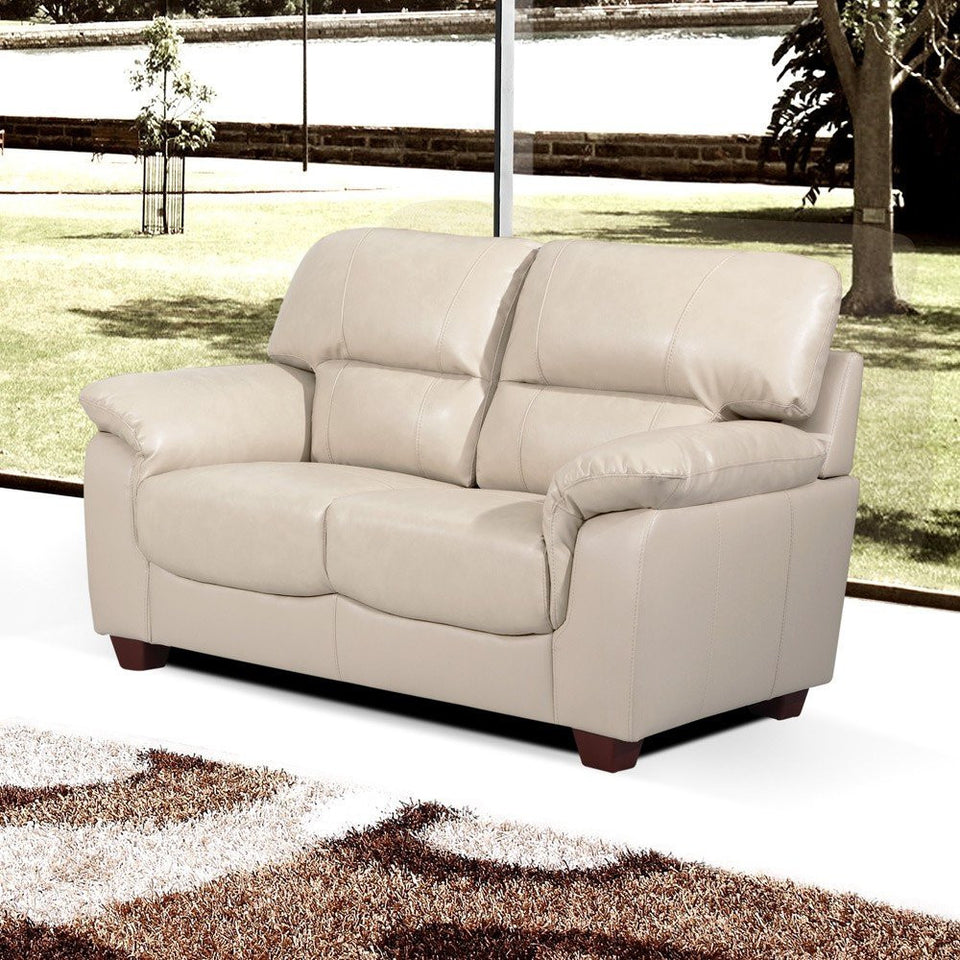 Fine New Modern High Back 2 Seater Bonded Leather Living Room Sofa Settee Ivory Cream Pabps2019 Chair Design Images Pabps2019Com