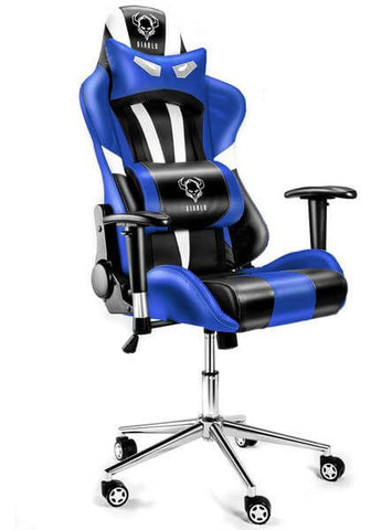 Computer Gaming Chair Heavy Duty Sporty Racing chair, Swivel Padded (eMarkooz i Blue)