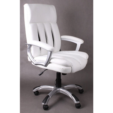 Office Chair Executive Swivel Padded Mid Back Computer Office Chair White & Black