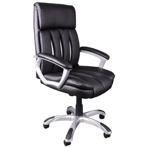 Office Chair Executive Swivel Padded Mid Back Computer Office Chair Black & White