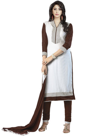 Twbazaar White Embroiderd Unstitched Straight Suit