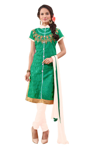 Twbazaar See Green Embroidered Un-Stitched Straight Suit