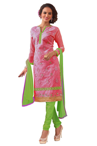 Twbazaar Pink Embroidered Un-Stitched Straight Suit