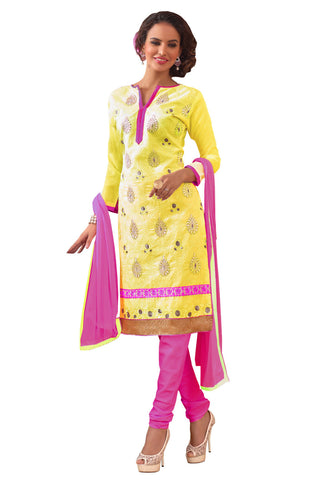 Yellow  Embroidered Un-Stitched Straight Suit