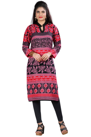 Twbazaar Red & Black Printed Stitched Kurti 3Pys3003_L