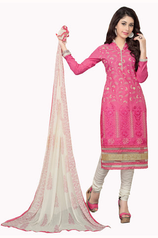 Twbazaar Pink Embroiderd Unstitched Straight Suit