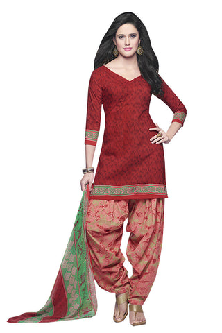 Twbazaar Red Printed Un Stitched Patiyala Salwar Suit