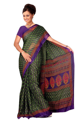 Twbazaar Purple And Green Printed Saree