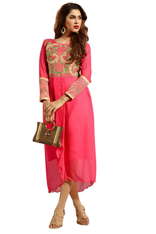 Twbazaar Red Embroidried Stitched Kurti Fna3104_L