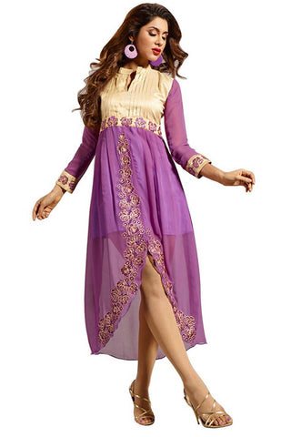 Twbazaar Purple & Beige Embroidried Stitched Kurti Fna3105_L