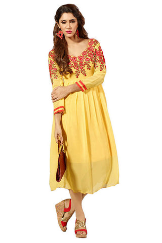 Twbazaar Yellow Embroidried Stitched Kurti Fna3108_L