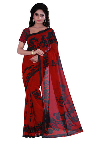 Twbazaar Red And Black Printed Saree