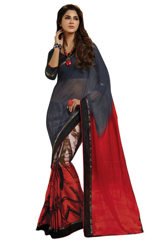 Twbazaar Red And Grey Printed Two Way Saree