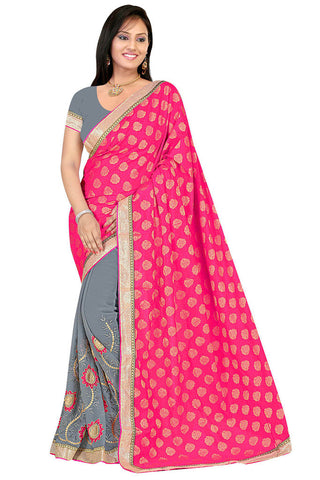 Twbazaar Pink And Grey Embroidered Saree