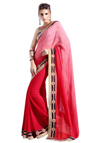 Twbazaar Red & Light Pink Embroidered Saree