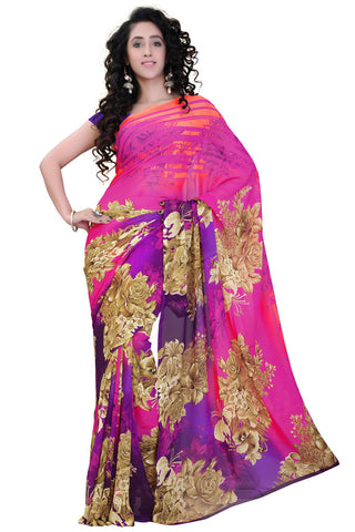 Twbazaar Pink And Purple Printed Saree