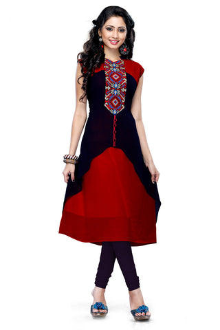 Twbazaar Red & Blue Printed Stitched Kurti Llk3001_L