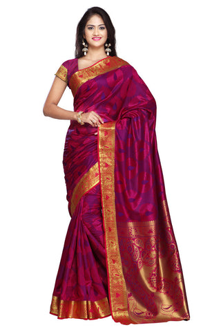 Twbazaar Pink And Gold Printed Saree