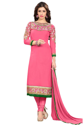 Twbazaar Pink Embroidered  Unstitched  Straight Suit