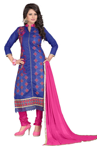 TWBazaar Royal Blue Embroidered Un-Stitched Suit