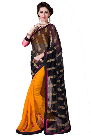 Twbazaar Exclusive Black & Dark Yellow Embroidried Saree