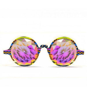 GloFX * Tribal Kaleidoscope Glasses – Rainbow Fractal – Flat Back