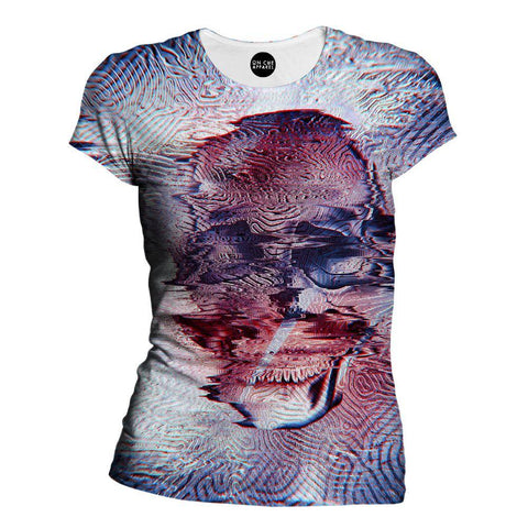 White Glitch Skull Womens T-Shirt