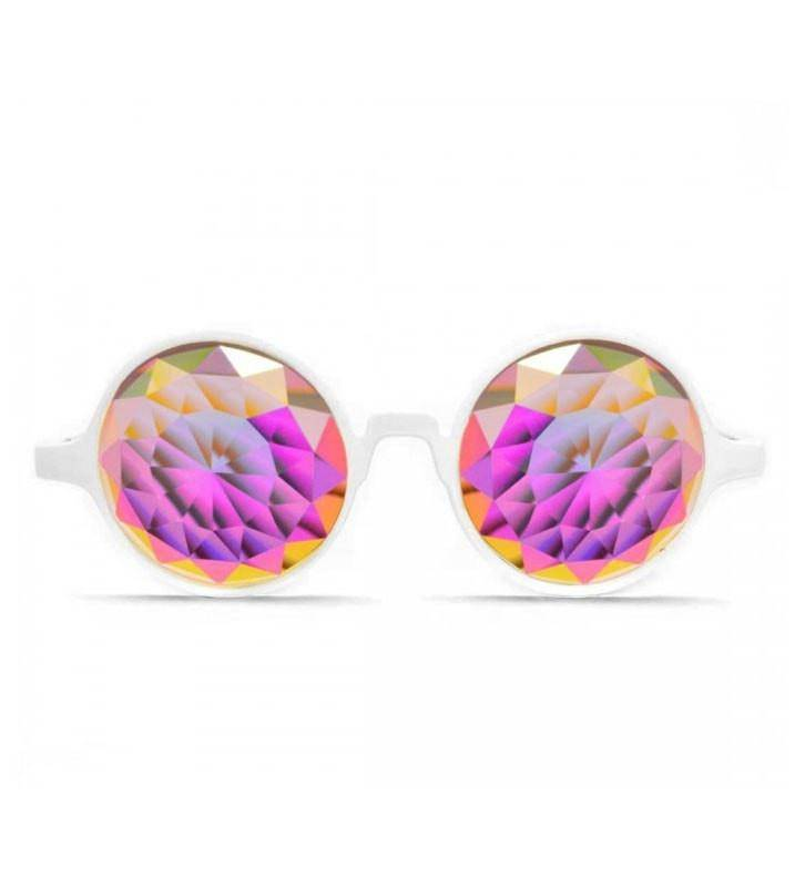 GloFX * White Kaleidoscope Glasses – Rainbow Fractal – Flat Back